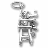 Sterling Silver Baby In Highchair Charm by Rembrandt Charms