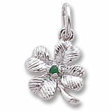 Sterling Silver 4 Leaf Clover Bead Accent Charm by Rembrandt Charms
