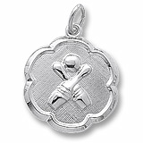 Sterling Silver Bowling Scalloped Disc Charm by Rembrandt Charms