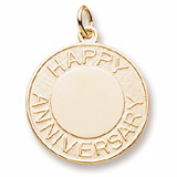 14k Gold Happy Anniversary Disc Charm by Rembrandt Charms.