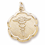 14k Gold Caduceus Scalloped Disc Charm by Rembrandt Charms