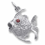 Sterling Silver Angelfish with Stones Charm by Rembrandt Charms