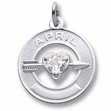 Sterling Silver 04 Apr Month of Love Charm by Rembrandt Charms