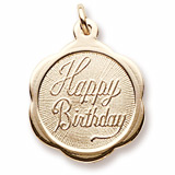 14K Gold Happy Birthday Scalloped Charm by Rembrandt Charms