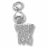 Sterling Silver Basketball Hoop and Net Charm by Rembrandt Charms