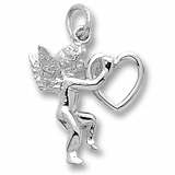 Sterling Silver Angel and Heart Charm by Rembrandt Charms