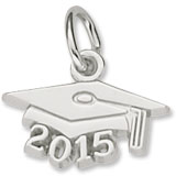 Sterling Silver Grad Cap 2015 Accent Charm by Rembrandt Charms