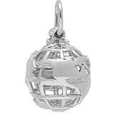 Sterling Silver World Globe Charm by Rembrandt Charms