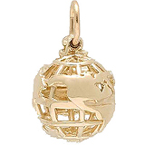 14k Gold World Globe Charm by Rembrandt Charms