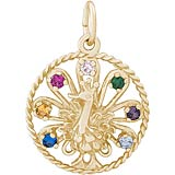 14k Gold Peacock Bird Charm by Rembrandt Charms