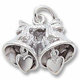 Wedding Bells with Heart Clappers Charm