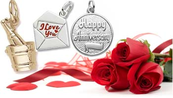 14K Gold Anniversary Charms and Roses