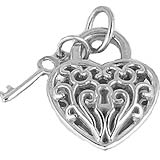 Key and Filigree Heart Charm